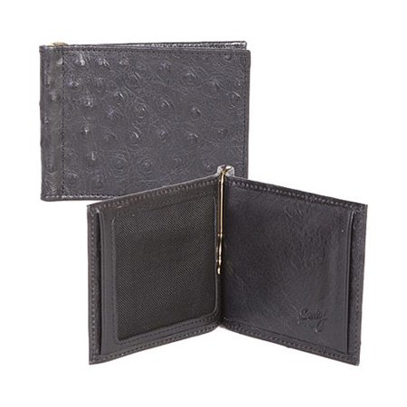 - Men's Scully Money Clip w/ID Window Ostrich 2008 Black OSFA