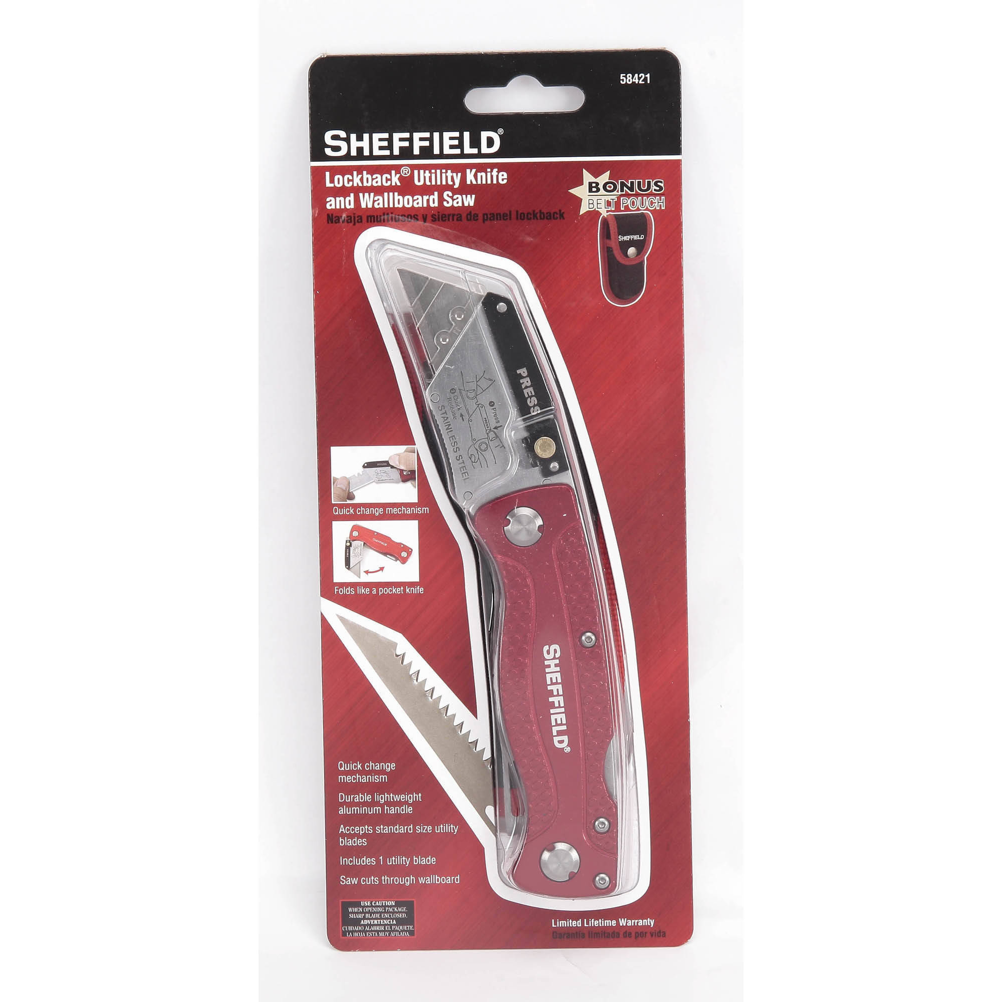 Sheffield Heavy-Duty Knife and Utility Saw with Belt Pouch