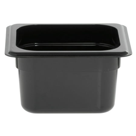 HUBERT Food Storage Pan 1/6 Black Break Resistant Polycarbonate - 4