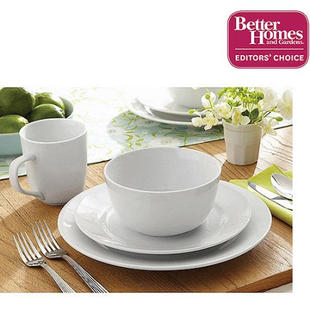 better homes and gardens round rimmed porcelain dinnerware 16 piece set - White Dinnerware Sets