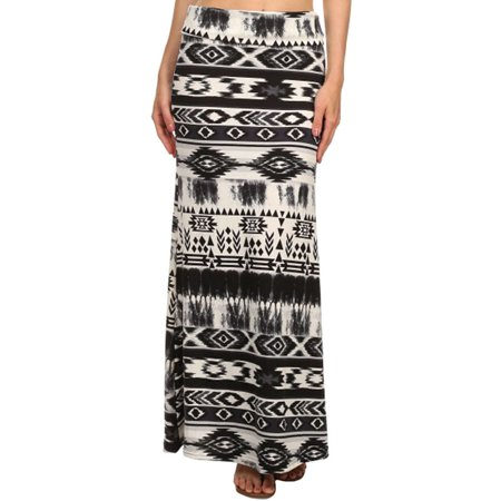 Women Tribe Print Foldover Waist Maxi Skirts, Multi-color #121, S/M ()