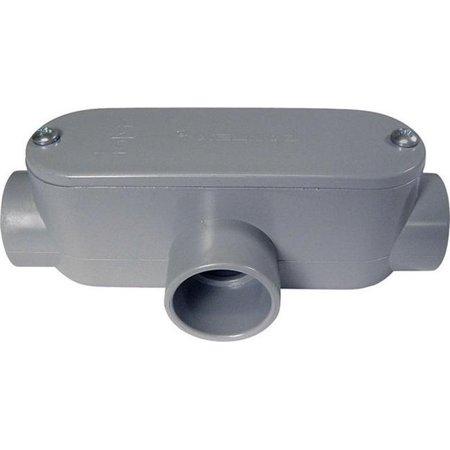 Cantex Conduit Outlet Body, PVC, T Gray