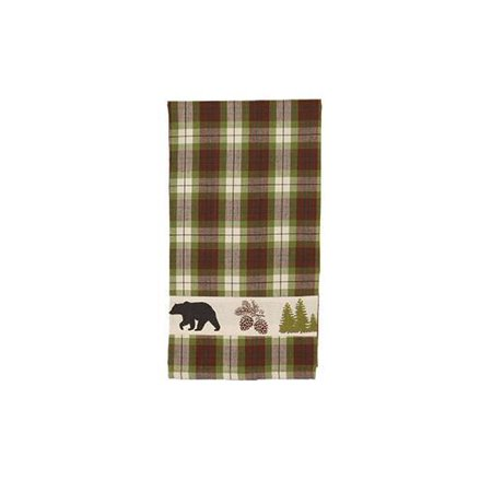 Woodland Plaid Black Bear Kitchen Towels, Set of 2, 19