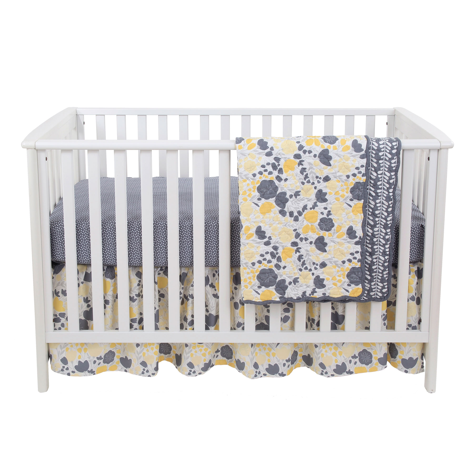 Balboa Baby 3 Piece Baby Girl Crib Bedding Set - Yellow and Grey Floral Design - Yellow Tulip with Grey Sheet