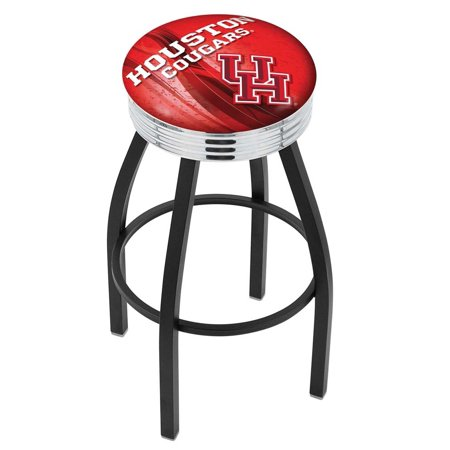 Houston 25 Inch L8B3C Black Wrinkle With Chrome Accent Ring Bar Stool ()