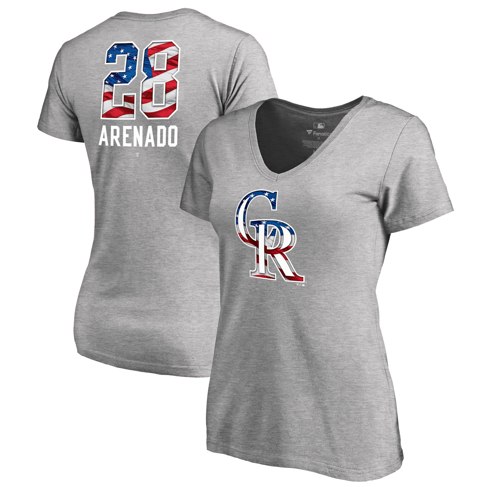 Nolan Arenado Colorado Rockies Fanatics Branded Women's 2018 Stars & Stripes Banner Wave V-Neck T-Shirt - Heather Gray