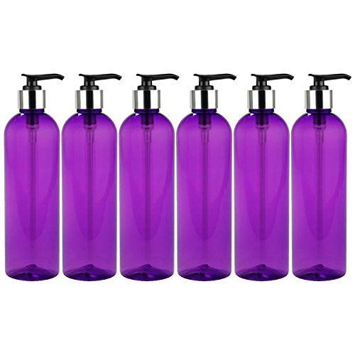MoYo Natural Labs 8 oz Pump Dispenser, Empty Soap and Lotion Bottles with Locking Cap, BPA Free PET Plastic Containers for Essential Oils/Liquids (3 pack, Candy Pink)