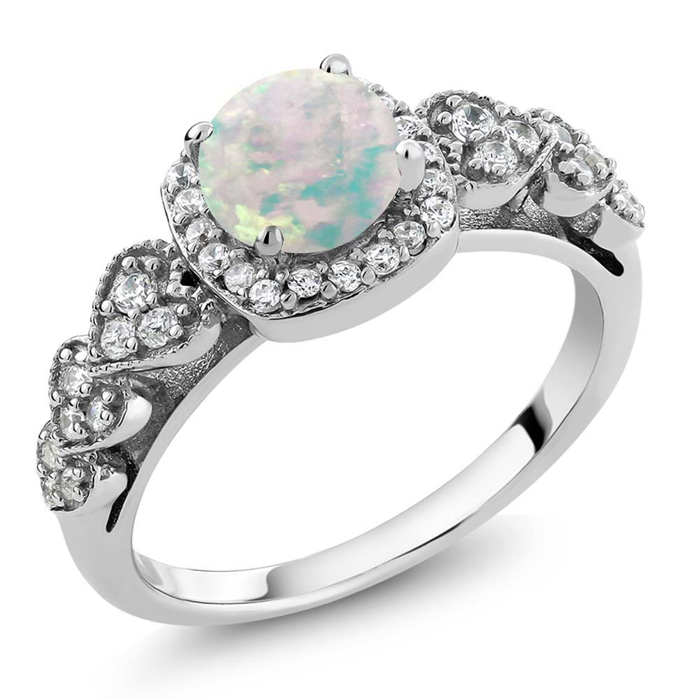0.62 Ct Round Cabochon White Simulated Opal 925 Sterling Silver Ring by