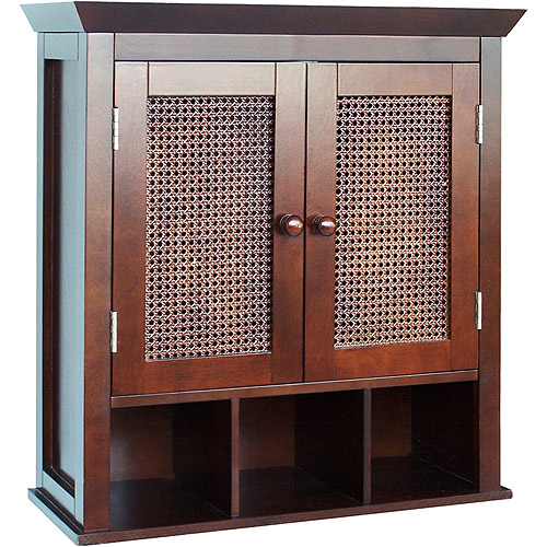 Evelyn Two-Door Wall Cabinet with Cubbies, Espresso