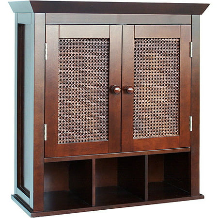 Evelyn Two Door Wall Cabinet With Cubbies Espresso
