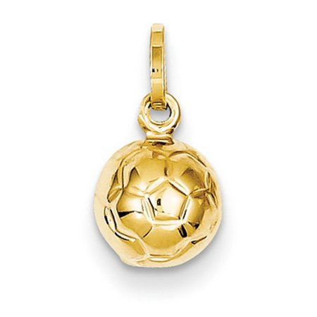 14k Yellow Gold Hollow Polished Soccer Ball Charm - .5 Grams - Measures 13.4x7.8mm 14kt Gold Soccer Ball Charm