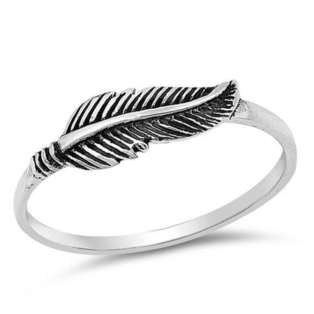 Oxidized Feather Leaf Simple Dainty Boho Sterling Silver Midi Ring Size 9 Sterling Silver Leaf Ring
