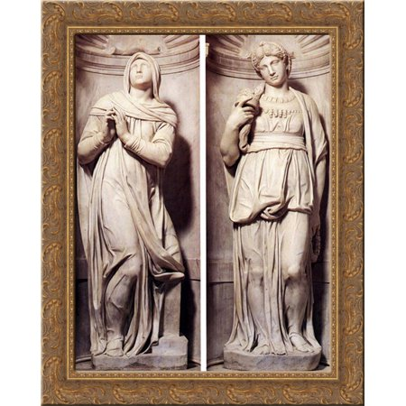 Tomb Of Pope Julius Ii  Detail    Rachel And Leah 20X24 Gold Ornate Wood Framed Canvas Art By Michelangelo