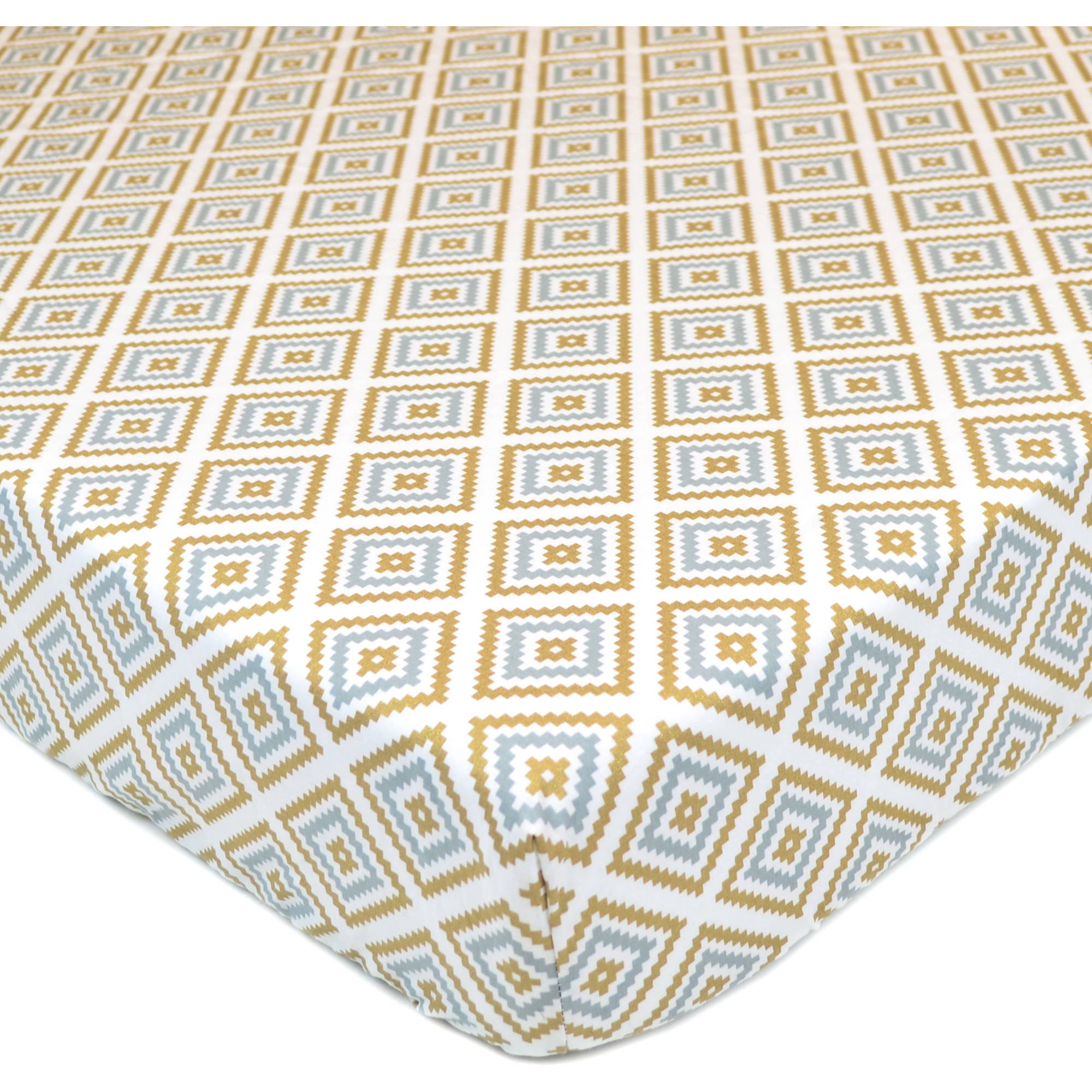 American Baby Company 100 Percent Cotton Percale Printed Sparkle Fitted Crib Sheet, Gold/Grey Kilim