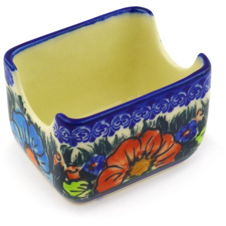 Polish Pottery 3½-inch Sugar Packet Holder (Butterfly Splendor Theme) Signature UNIKAT Hand Painted in Poland + Certificate of Authenticity