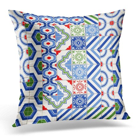 ARHOME Blue Arabesque Stylish Mega Patchwork Mix of Six Moroccan Tiles in Trendy Colors Green Azulejo Pillow Case Pillow Cover 18x18 inch
