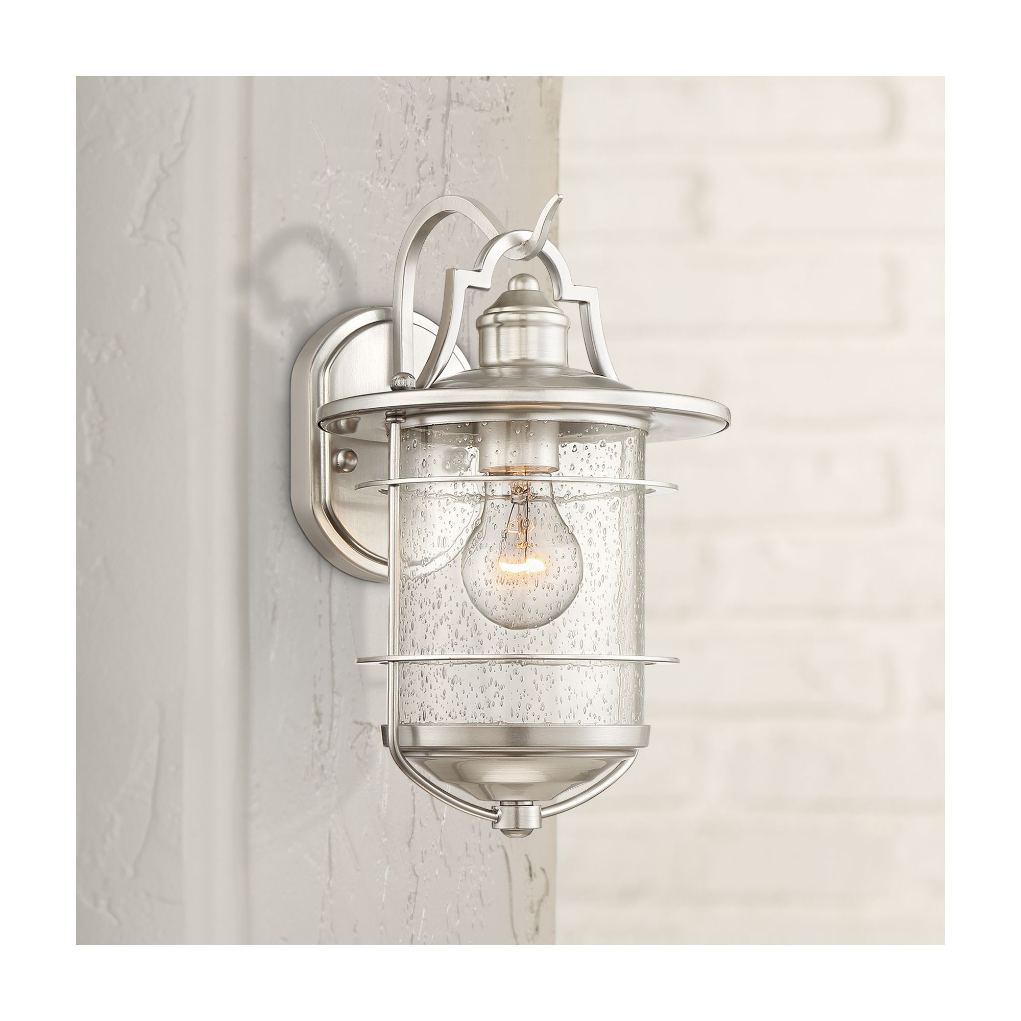 "Franklin Iron Works Casa Mirada 12"" High Brushed Nickel Outdoor Wall Light"