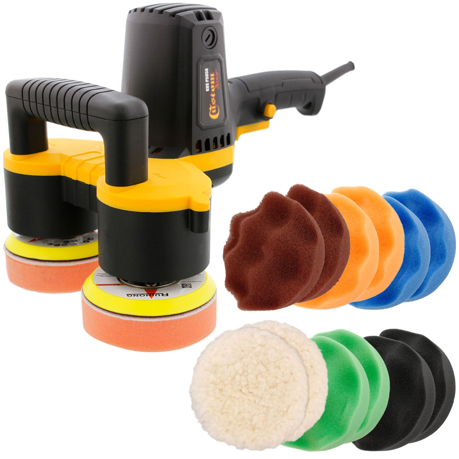"Custom Shop 4"" Dual Head Variable Speed Random Orbit Dual-Action Polisher w/ Waffle Foam Buffing and Polishing 12 Pad"