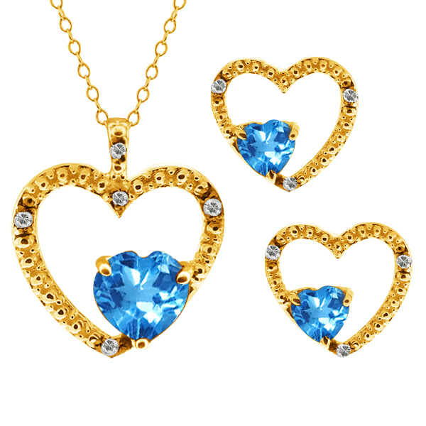 2.19 Ct Heart Shape Swiss Blue Topaz 18k Yellow Gold Pendant Earrings Set by