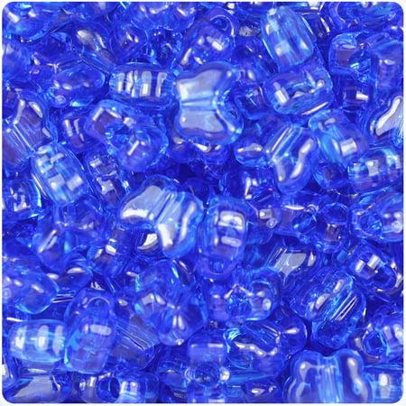 BeadTin Dark Sapphire Transparent 13mm Butterfly Pony Beads (250pcs)