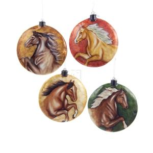 1 Set 4 Assorted 4 Inch Horse Capiz Flat Disc Christmas Ornaments
