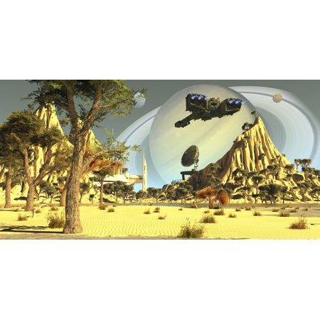 After Terraforming Saturns Moon Titan Earth Colonists Set Up A Spaceport For Incoming Spaceships Poster Print
