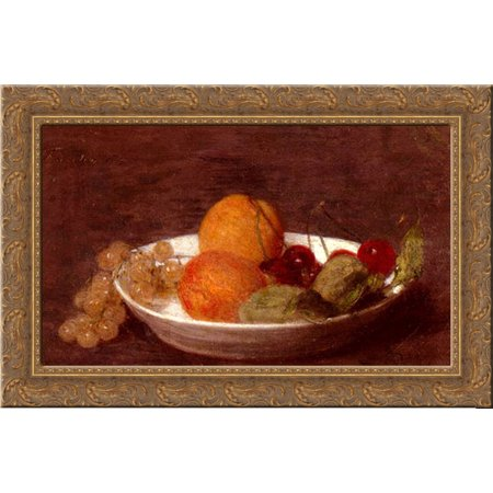 A Bowl Of Fruit 24X18 Gold Ornate Wood Framed Canvas Art By Fantin Latour  Ignace Henri Jean Theodore