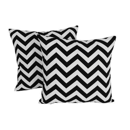 Set Of 2 Black Chevron Throw Pillows 14x14 Square White Indoor