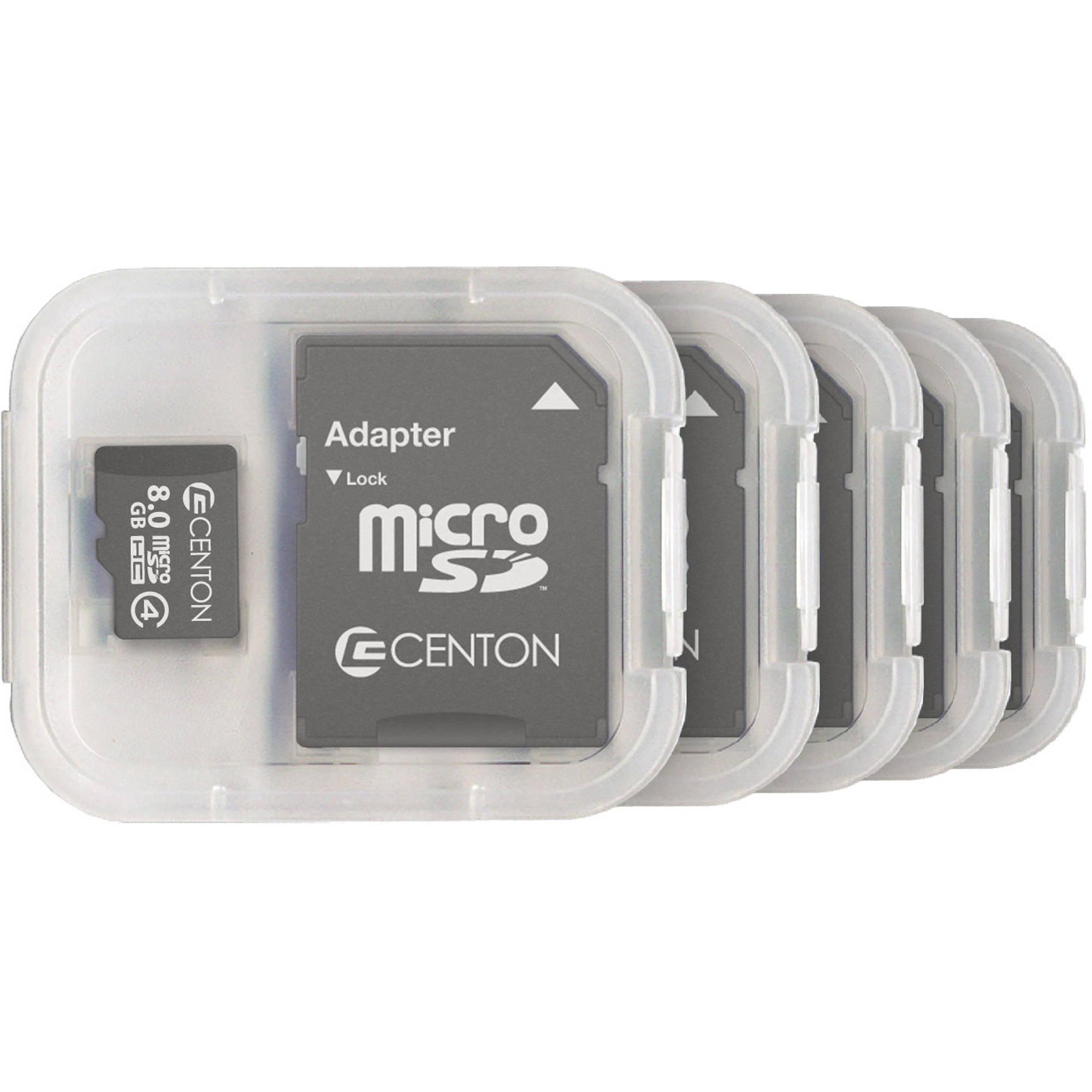 Centon MP Essential 8GB Class 4 microSDHC Card, 5pk