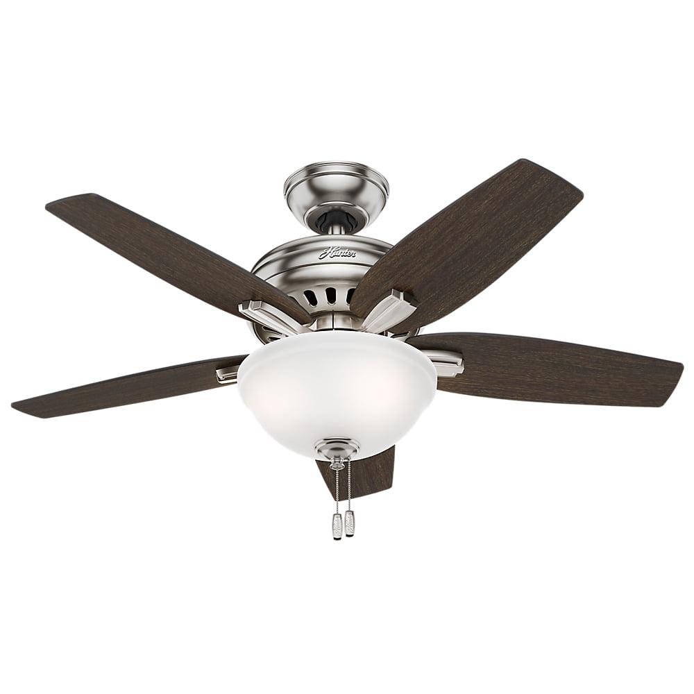 "Hunter 42"" Newsome Brushed Nickel Ceiling Fan with Light by Hunter Fan Co"