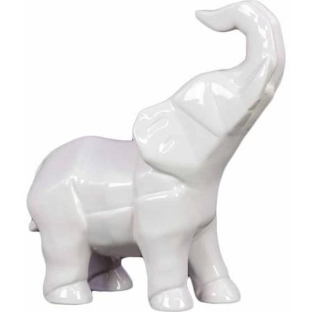 Urban Trends Collection Ceramic Elephant Figurine Gloss Finish White