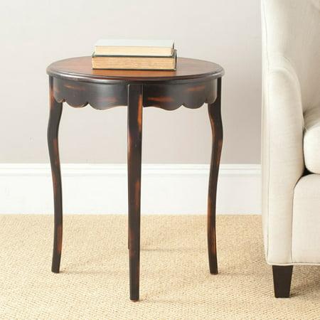 - Safavieh Kailey Round Side Table, Distressed Java Nutmeg Finish