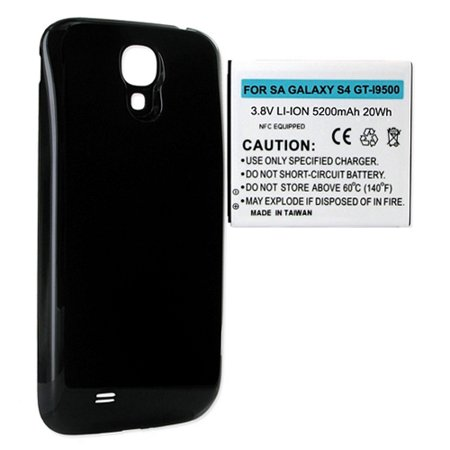 Samsung SCH-R970 Cell Phone Battery Ultra High Capacity Extended Battery (5200 mAh) Equipped With NFC - Replacement For Samsung Galaxy S4 Cellphone Battery - Includes A Black