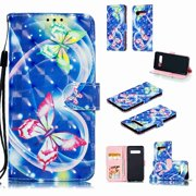 Dteck Magnetic Slim Wallet Card Slots PU Leather Flip Case Stand Cover ,For Samsung Galaxy S10 Plus,Butterfly #3