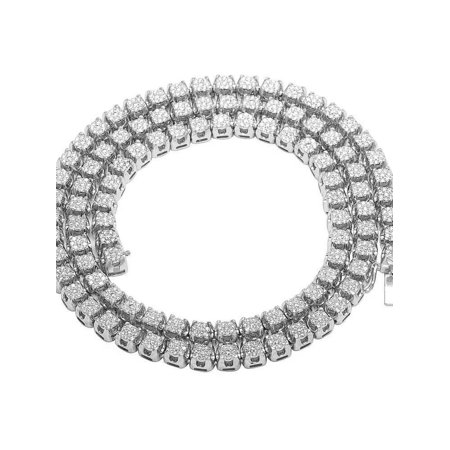 9f530ce5035d5 10K White Gold Diamond 6MM Cluster Tennis Chain Necklace 10 CT 24