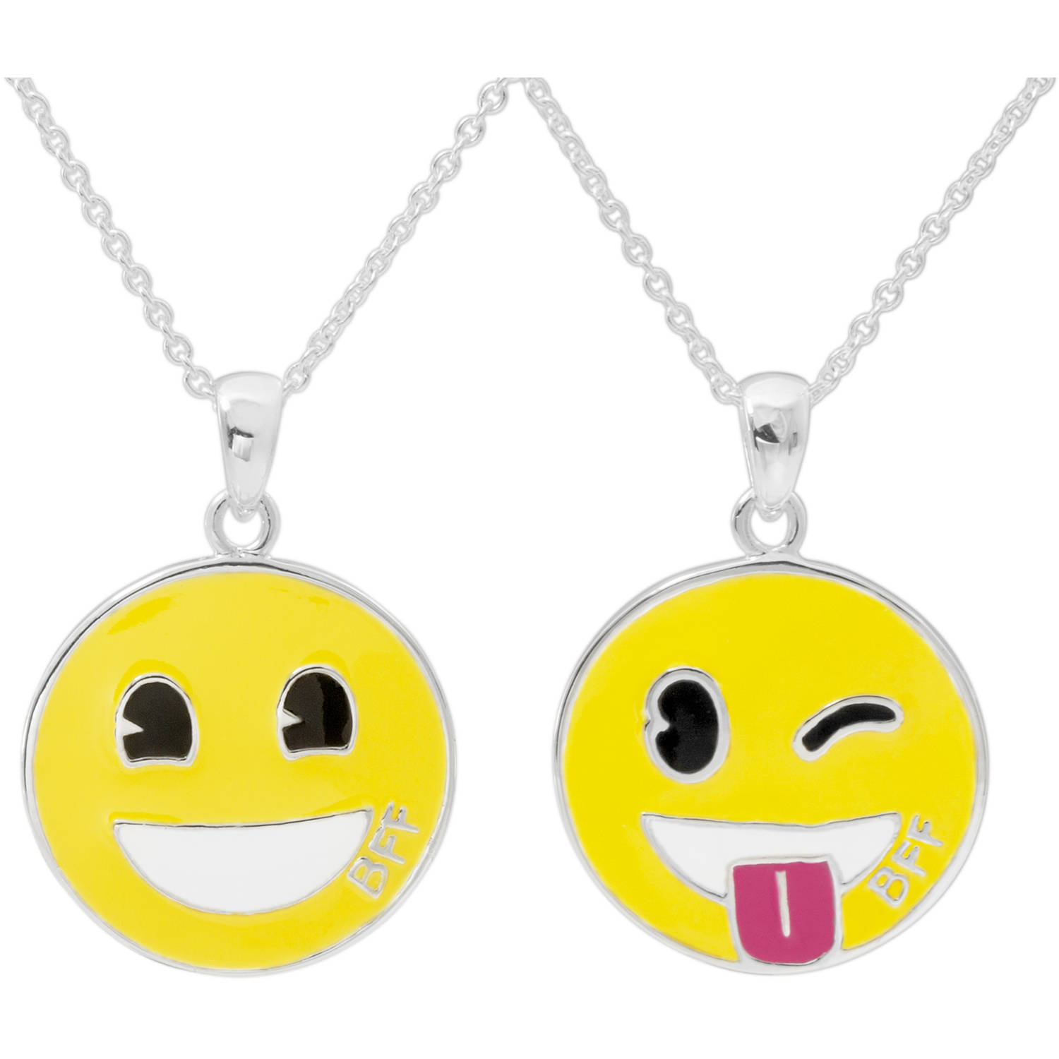 "Emoji Silver-Plated Pendants Set, 18"" chain"