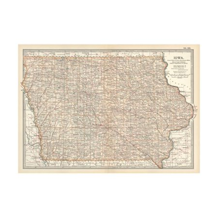 Plate 101. Map of Iowa. United States Print Wall Art By Encyclopaedia - Plate Wall Art
