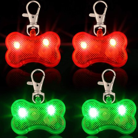 4 Pieces Plastic LED Dog Collar Tag Lights in Bone Shape Glow in The Dark Dog Tags Light Up Flashing Night Walking Dog Tags for Safety (Red Light, Gre 4 Pieces Plastic LED Dog Collar Tag Lights in Bone Shape Glow in The Dark Dog Tags Light Up Flashing Night Walking Dog Tags for Safety (Red Light, Gre