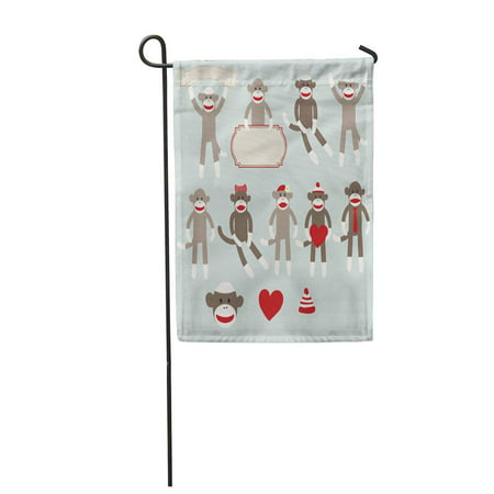 LADDKE Cute Sock Monkeys Heart Retro Sitting Boy Girl Hat Garden Flag Decorative Flag House Banner 12x18 inch (Monkey Garden)