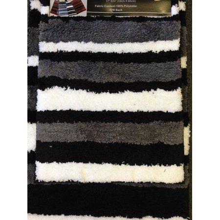 2 Piece Microfiber Bath Rug Set Modern Stripe Pattern Bathroom Rugs (Black) ()