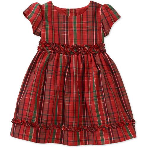 Baby Girls Plaid Taffeta with Lurex Holiday Dress with Tie