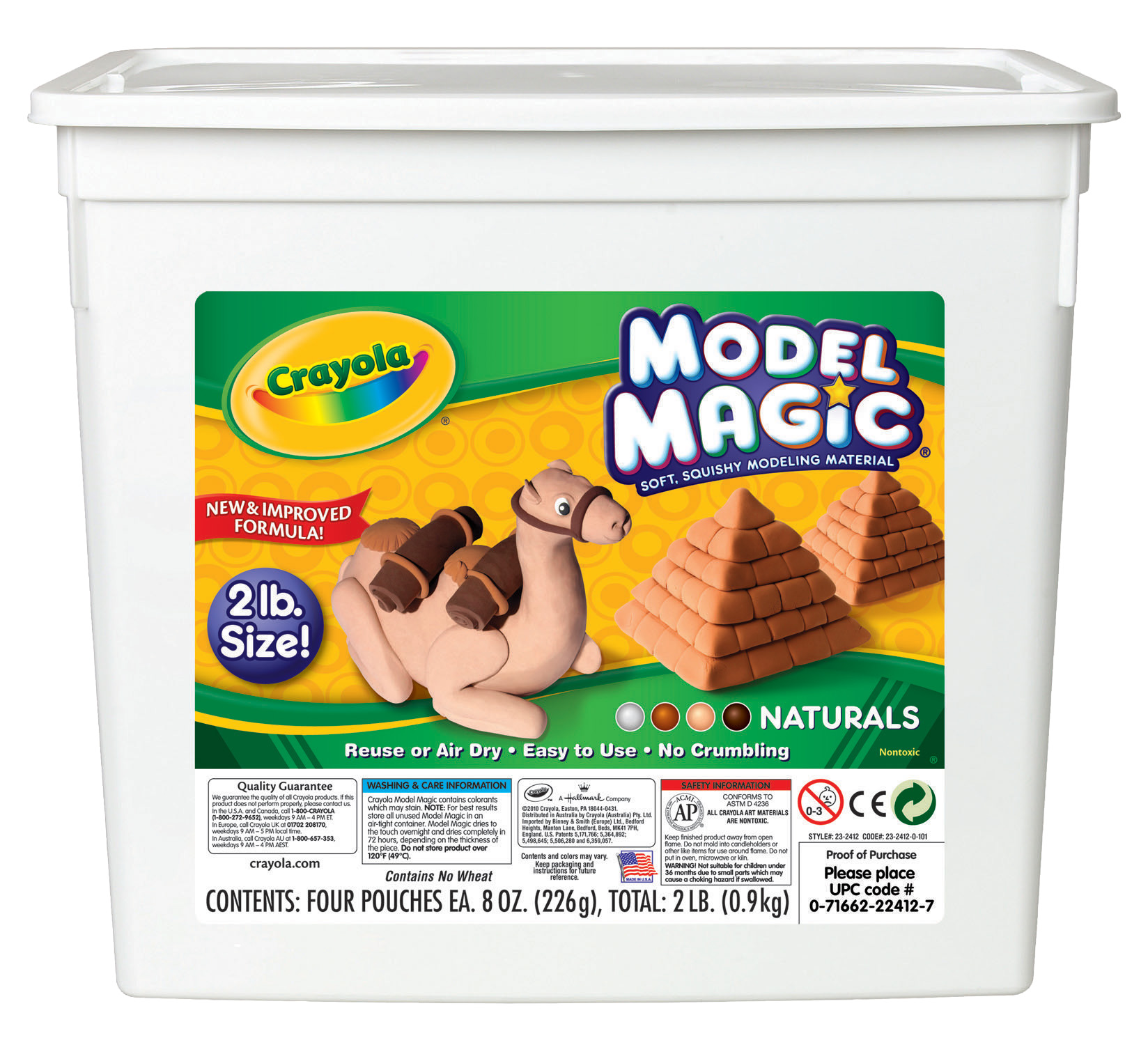Crayola Model Magic Non-Toxic Modeling Dough Set, 8 oz, Assorted Natural Color, Set of 4