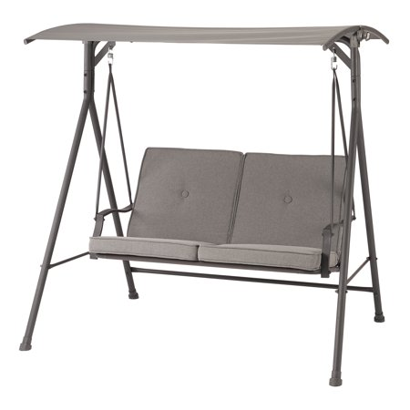 Mainstays Holten Ridge Two-Seat Canopy Patio Swing with Gray