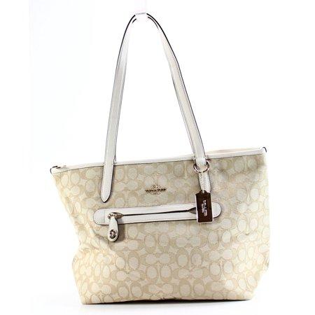 4b0e2a714f24 Coach - Coach NEW Beige Taylor Tote Signature Jacquard Light Gold Handbag  Purse - Walmart.com