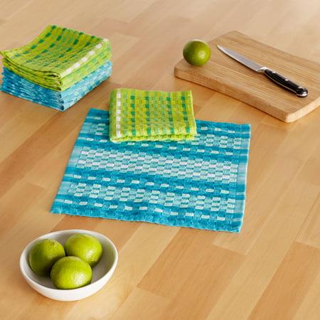 Mainstays Multi-Colored Cotton Kitchen Dishcloths, Set of 8 (2 Dishcloth)
