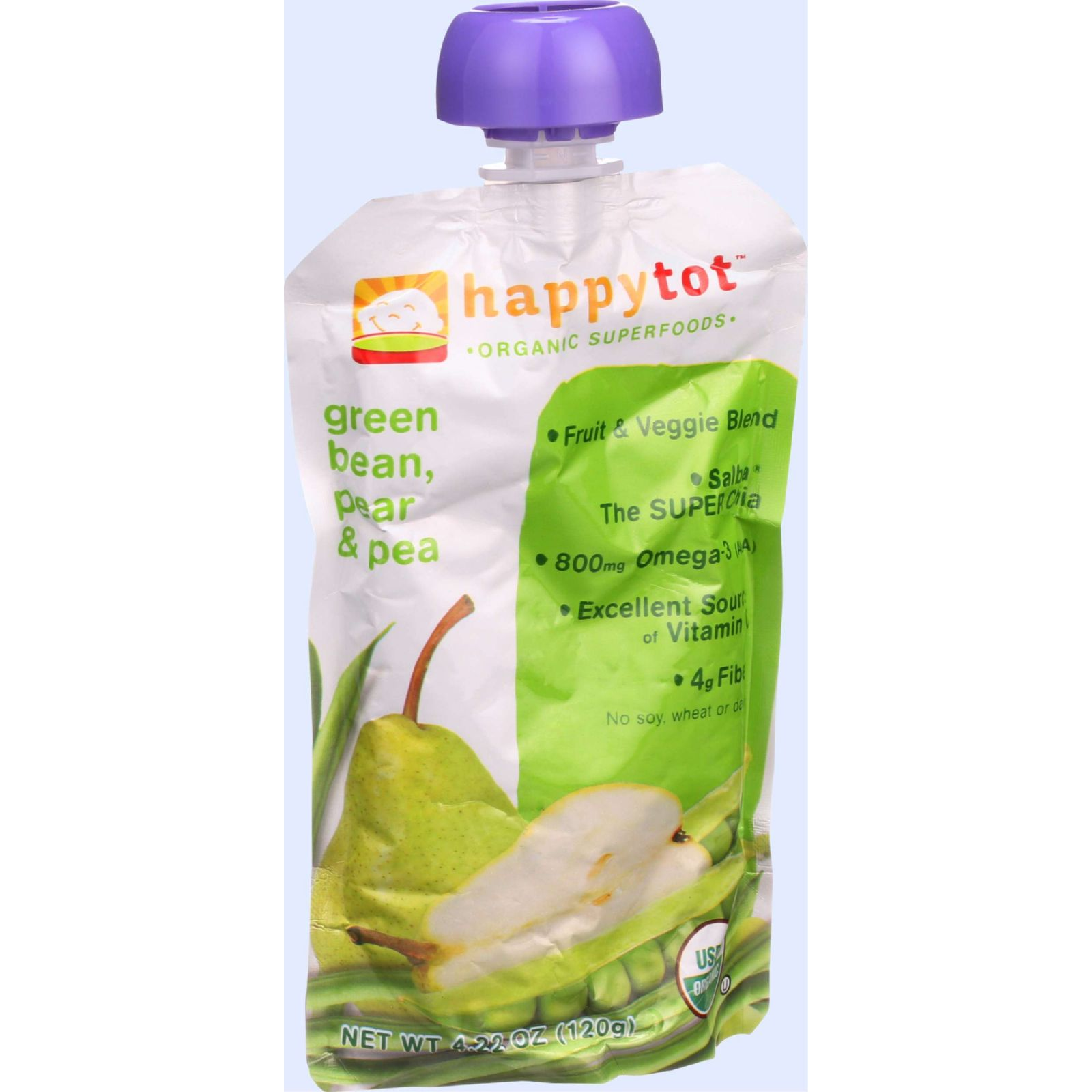 Happy Tot® Superfoods Organic Pears, Peas & Green Beans + Super Chia Fruit & Veggie Blend 4.22 oz. Pouch