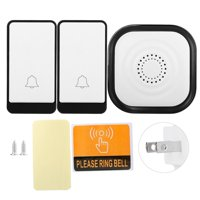 LHCER Wireless Doorbell Alarm,Wireless Self-generating Doorbell Home Security Alarm Door Bell Kit 45 Chime 1V2 US Plug, Smart Wireless Doorbell