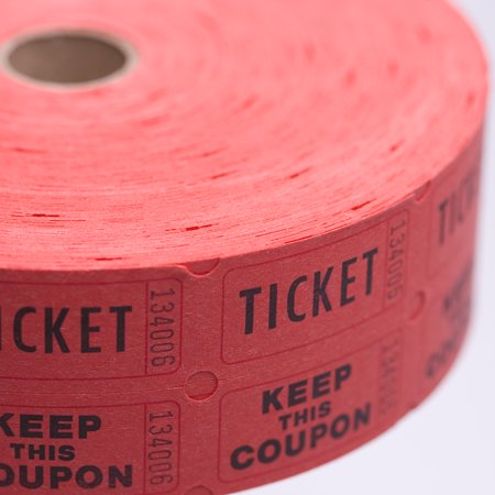 - Red Double Raffle Ticket Roll / 2000 count