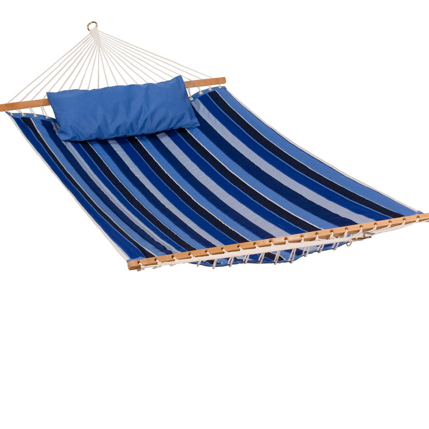 "82"" x 56"" Blue Stripe Pattern Reversible Sunbrella Quilted Hammock"