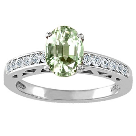 Tommaso Design Oval 8x6mm Green Amethyst Solitaire Engagement